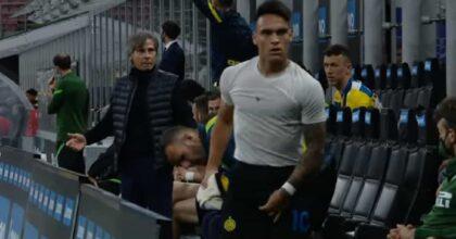 """Conte e Lautaro, lite dopo la sostituzione in Inter-Roma: """"Fenomeno del ca..."""" VIDEO"""