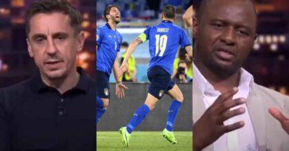 """Vieira e Neville contro l'Italia: """"Uscirà presto. Aspettiamo che affrontino squadre più forti"""""""