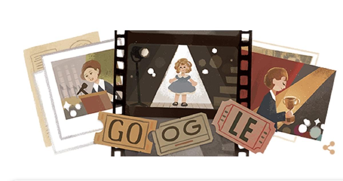 """Shirley Temple, il doodle di Google per il 9 giugno: chi era la baby attrice """"riccioli d'oro"""""""