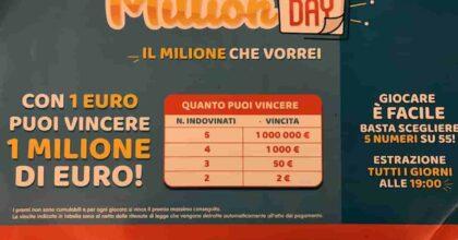 Million Day estrazione oggi mercoledì 16 giugno 2021: numeri e combinazione vincente Million Day di oggi
