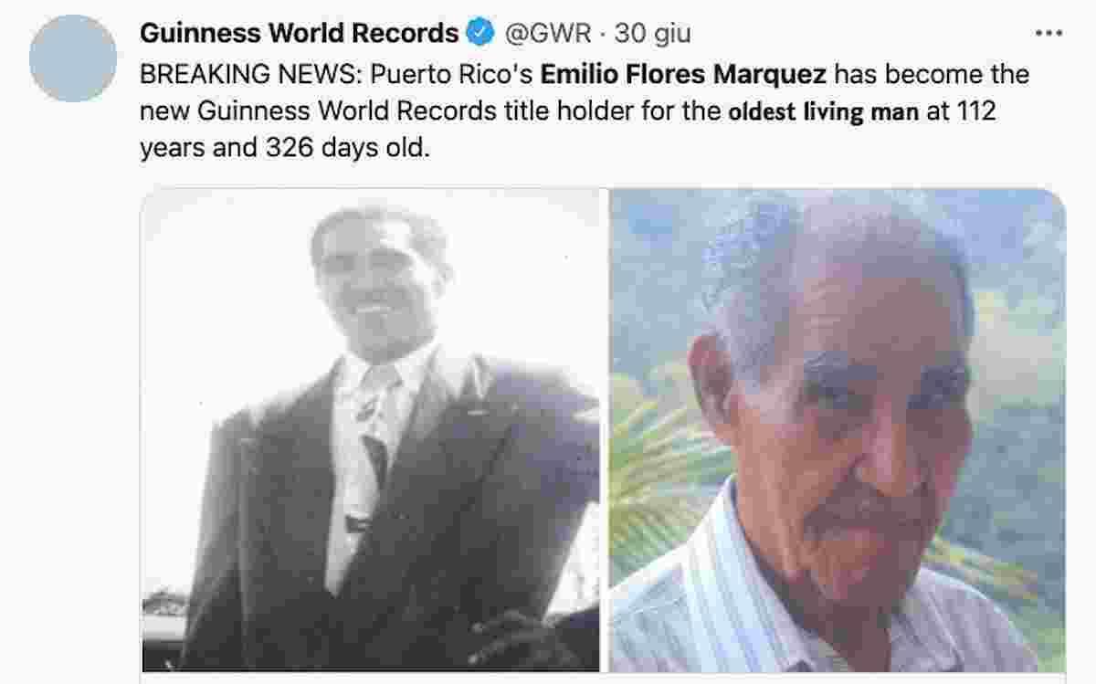 Emilio Flores Márquez è l'uomo più anziano del mondo secondo il Guinness World Records: ha 112 anni e 326 giorni