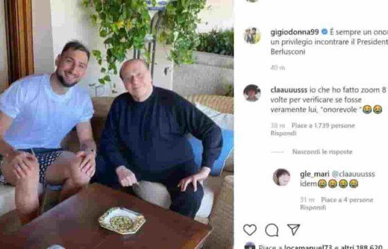 """Gigio Donnarumma, foto con Berlusconi in Sardegna. Social ironizzano: """"Svelato il mistero della vera faccia di Silvio"""""""