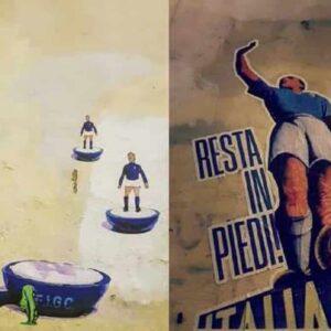"""Italia si inginocchia contro il Belgio, a Roma il murales stile fascista di Blocco Studentesco: """"Resta in piedi"""""""