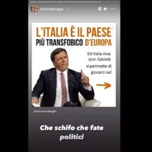 """Chiara Ferragni contro Renzi sul ddl Zan: """"Che schifo che fate"""". Lui replica, ma arriva Fedez VIDEO"""