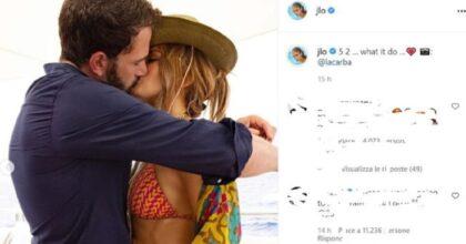 Jennifer Lopez e Ben Affleck, la prima FOTO social del bacio tra la cantante e l'attore