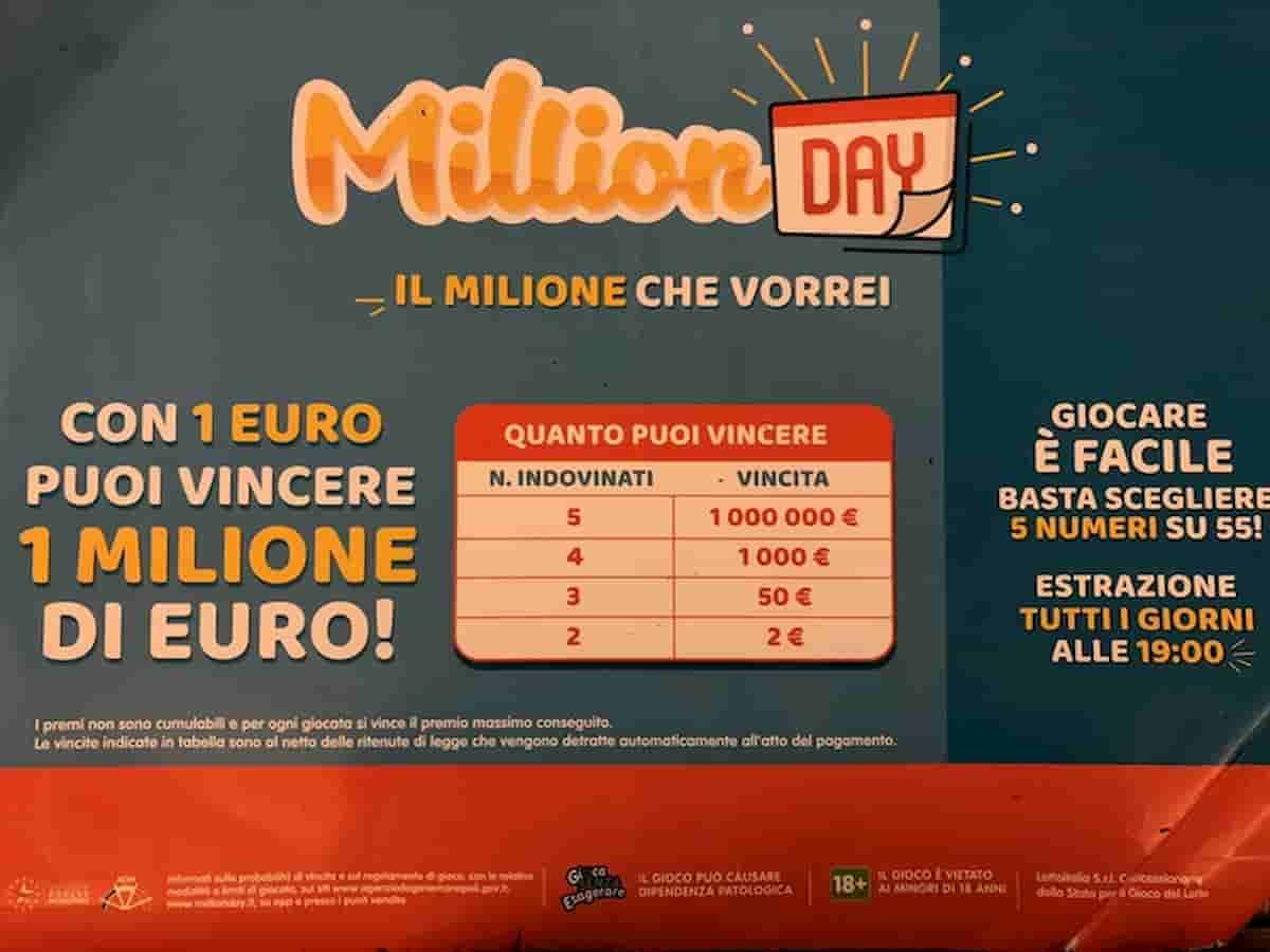 Million Day estrazione oggi mercoledì 21 luglio 2021: numeri e combinazione vincente Million Day di oggi
