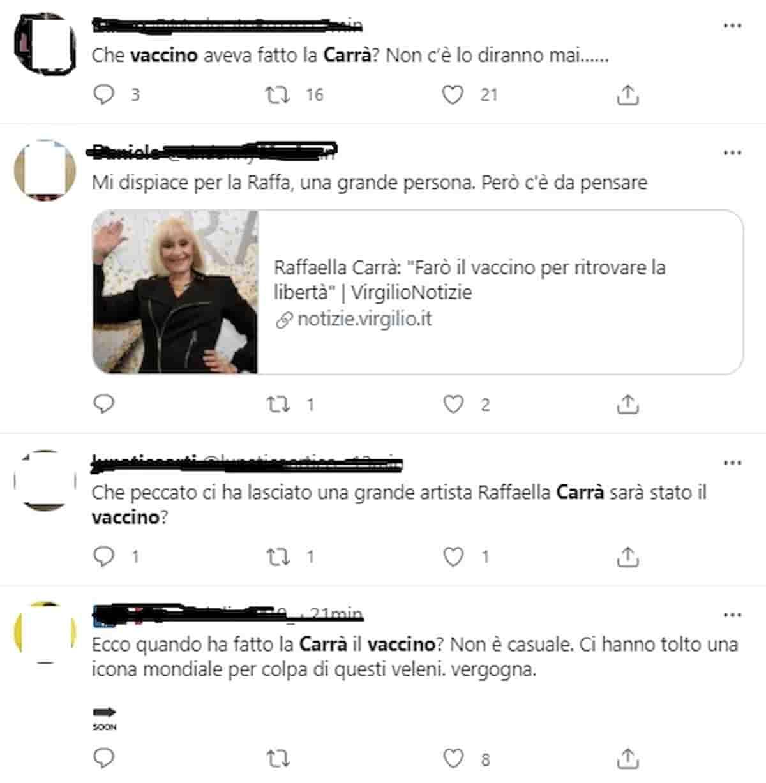 Raffaella Carrà no-vax vaccino