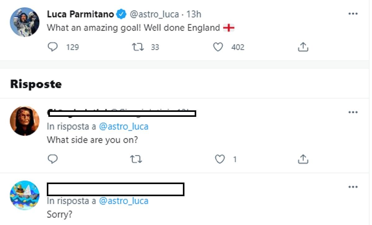 """Luca Parmitano esulta al gol dell'Inghilterra e sui social partono gli insulti: """"Sei sulla Luna?"""""""