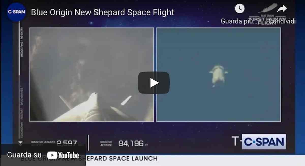 Jeff Bezos nello spazio, il video integrale del volo della navicella New Shepard della compagnia Blue Origin