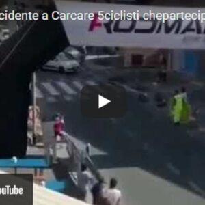 Carcare (Savona), auto travolge ciclisti poco prima del traguardo: due feriti gravi VIDEO