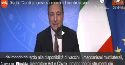 """Covid, Draghi: """"Grandi progressi ma ancora diseguaglianze su vaccini nel mondo"""" VIDEO"""