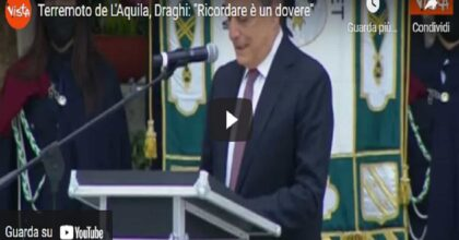 """L'Aquila, Mario Draghi inaugura il Parco della Memoria: """"Le 309 vittime sono 309 angeli"""""""