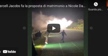 Marcell Jacobs, proposta di matrimonio a Nicole Daza su una pista d'atletica VIDEO