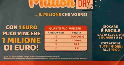 Million Day estrazione oggi mercoledì 1 settembre 2021: numeri e combinazione vincente Million Day di oggi