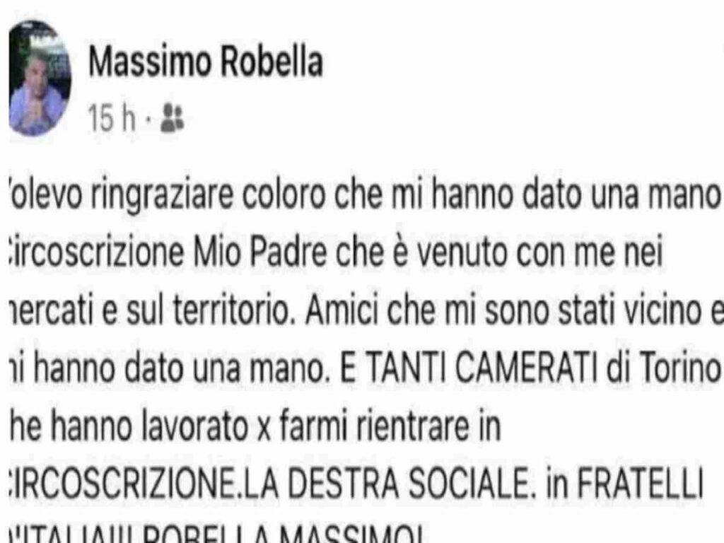 Massimo Robella ringrazia i camerati